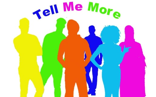 A logo for 'Tell me more' website