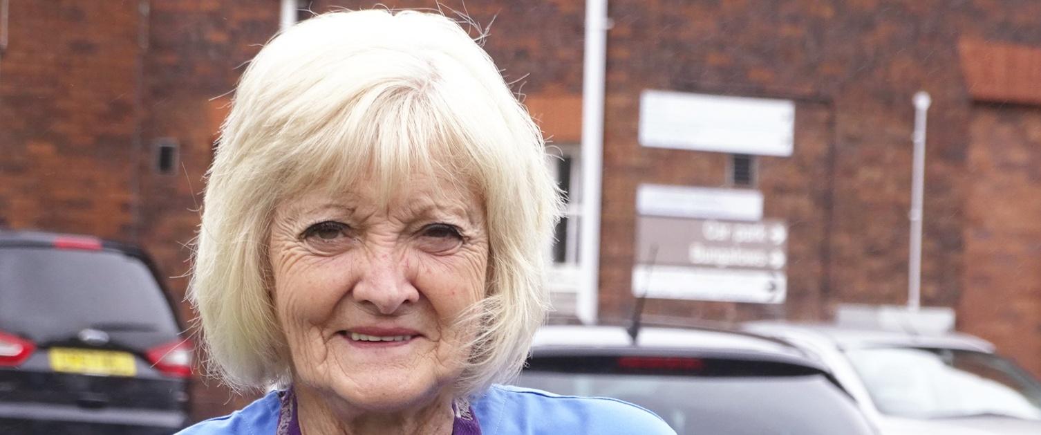 Hazel Eastman in nurse uniform outside Gorseinon Hospital