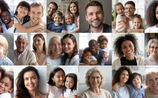 Image is collage of lots of pictures of families and people in the community.