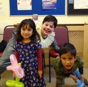 Children have fun at the flu party