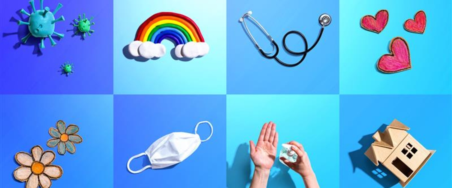 A picture of various things connected to the pandemic, including a rainbow, a mask and Covid