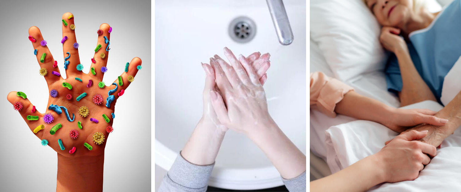These three images show a hand covered with germs, a woman washing her hands, and a visitor holding the hand of an elderly hospital patient.