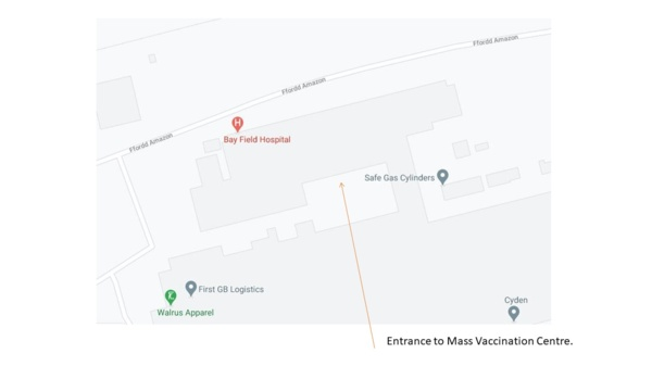 Google map of Bay Field Hospital site with arrow showing entrance to MVC.