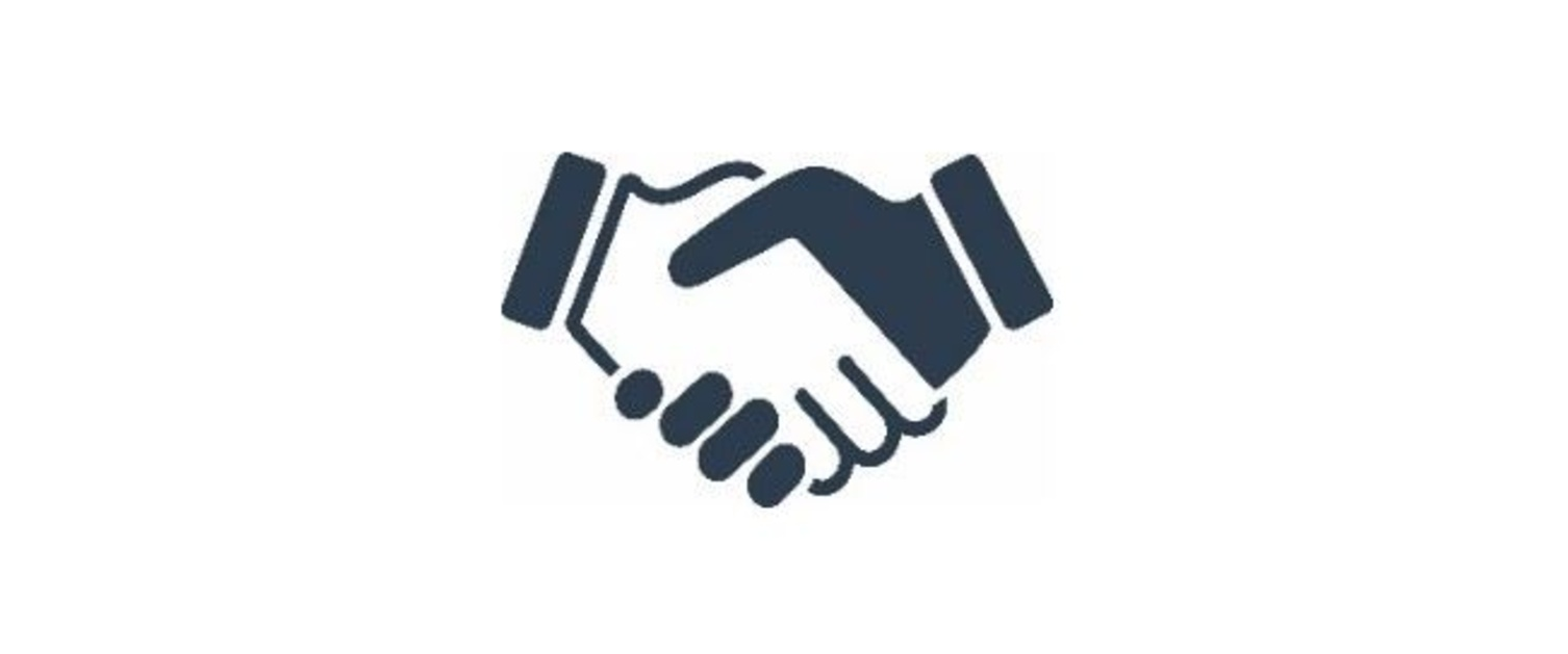 An animated image of a hand shake