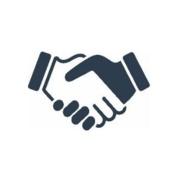 An animated image of a hand shake