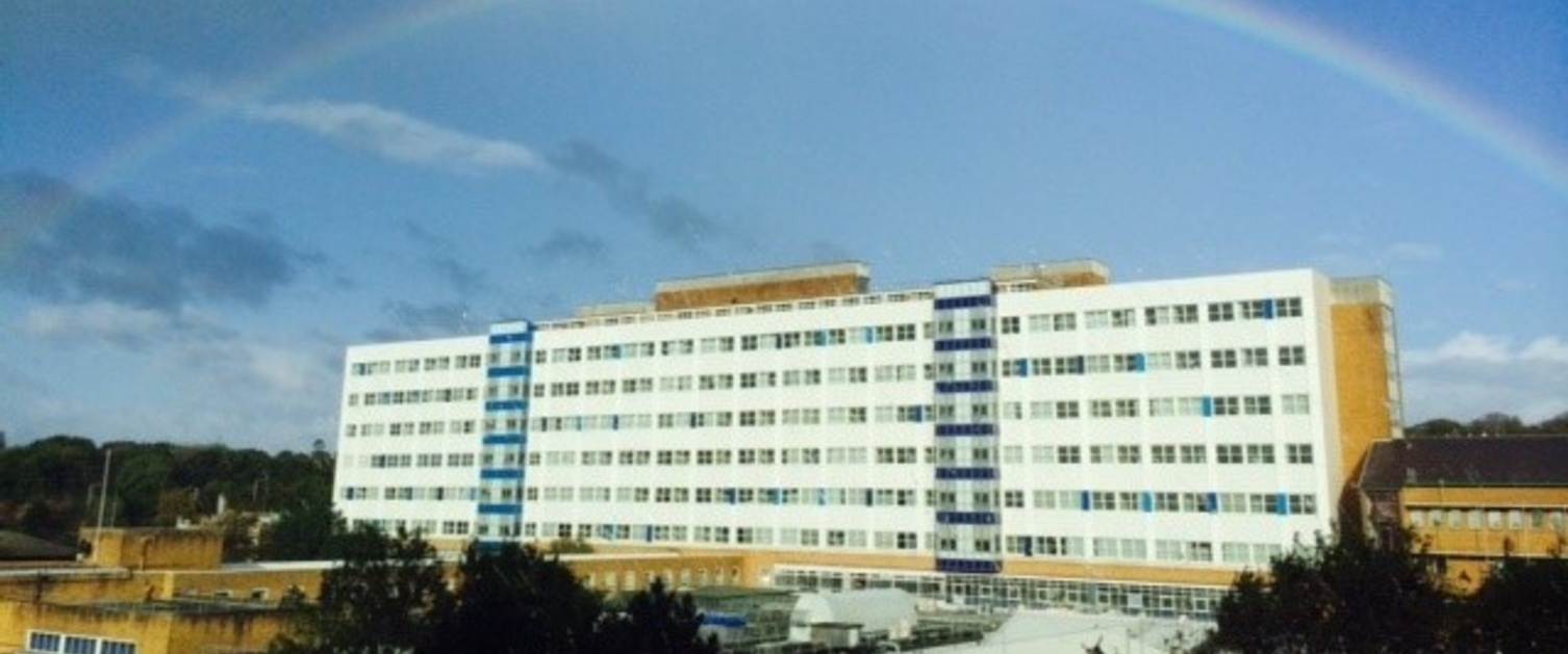 An image of Singleton Hospital with a rainbow above it.