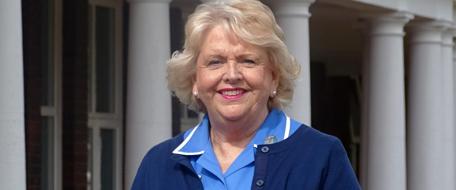 Christine Fitzgerald outside Gorseinon Hospital