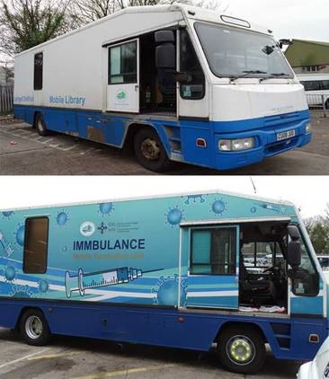 An image of the new mobile vaccination unit called the imbulance