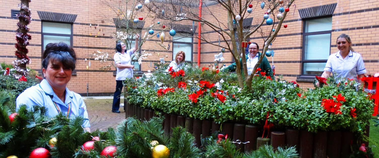 Staff group in hospital garden