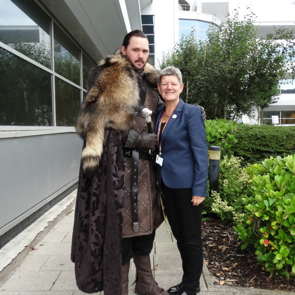 Image of Jon snow lookalike standing next to Tracy Myhill