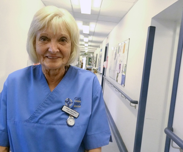 Hazel Eastman in nurse uniform in Gorseinon Hospital