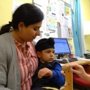 Anshveer Singh sits on mum Amanjot Kaur's lap
