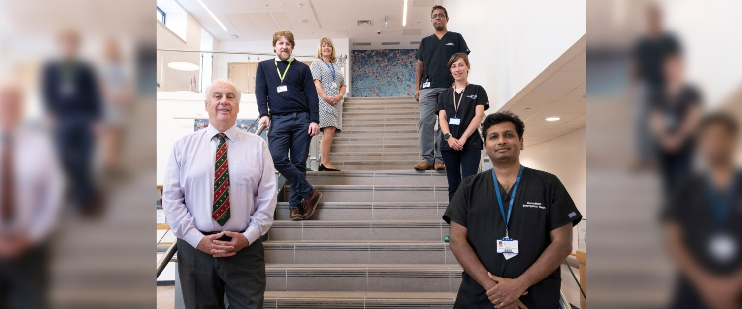 Research team on the stairs at Morriston Hospital