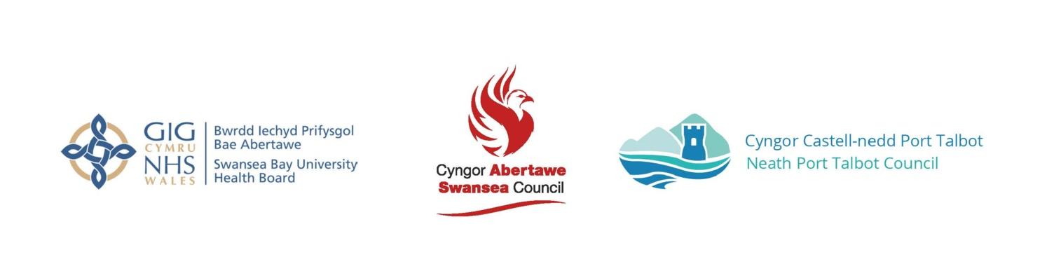 logos of Swansea Bay UHB, Swansea Council and NPT Council