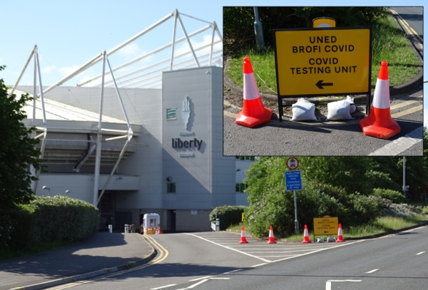 Image shows turn in for the testing unit at the Liberty Stadium.