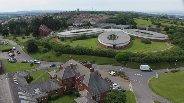 An overview of Cefn Coed Hospital.