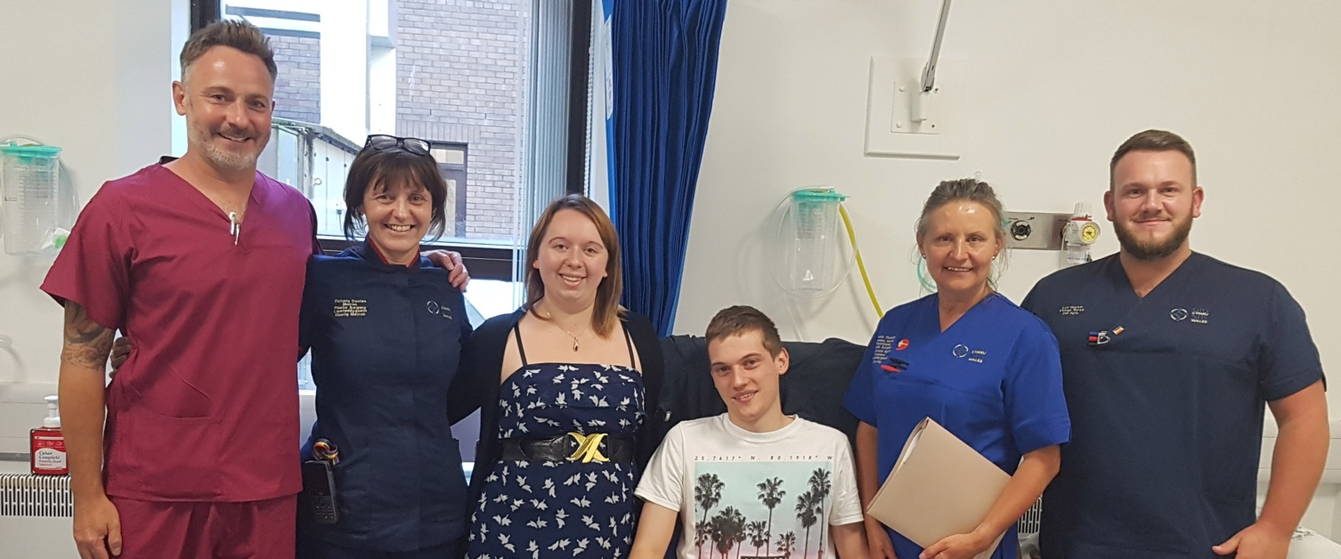 Patient Joseph Attwood and staff in the Plastic Surgery Treatment Centre