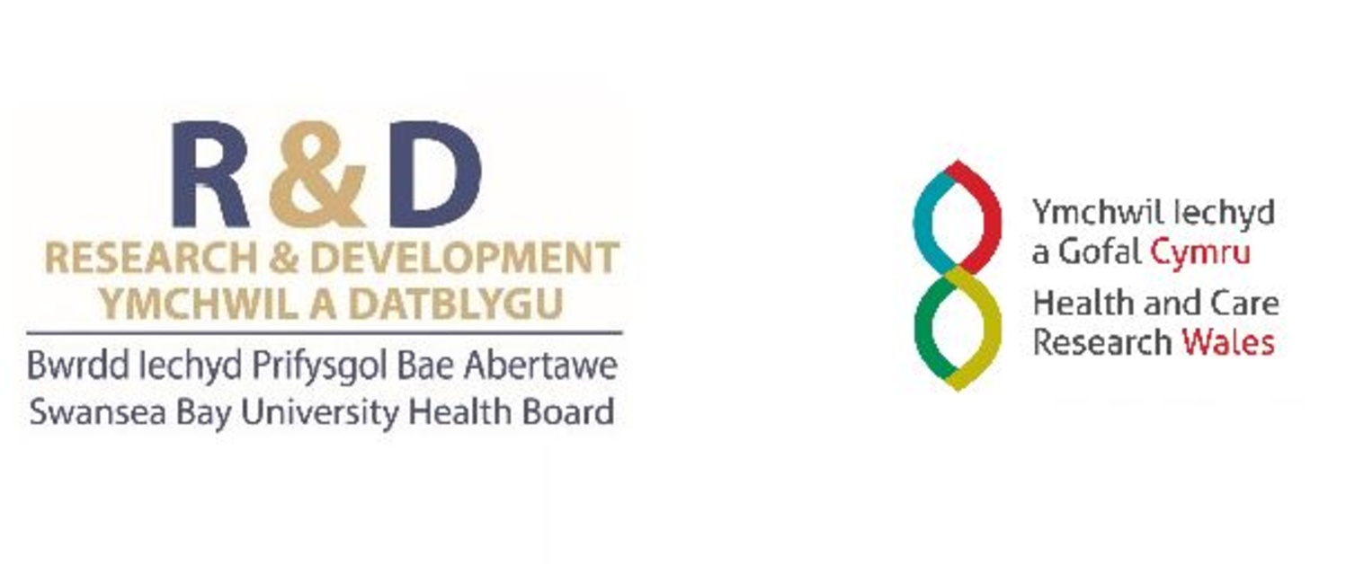An image of the SBUHB Research & Development logo and the Health and Care Research logo