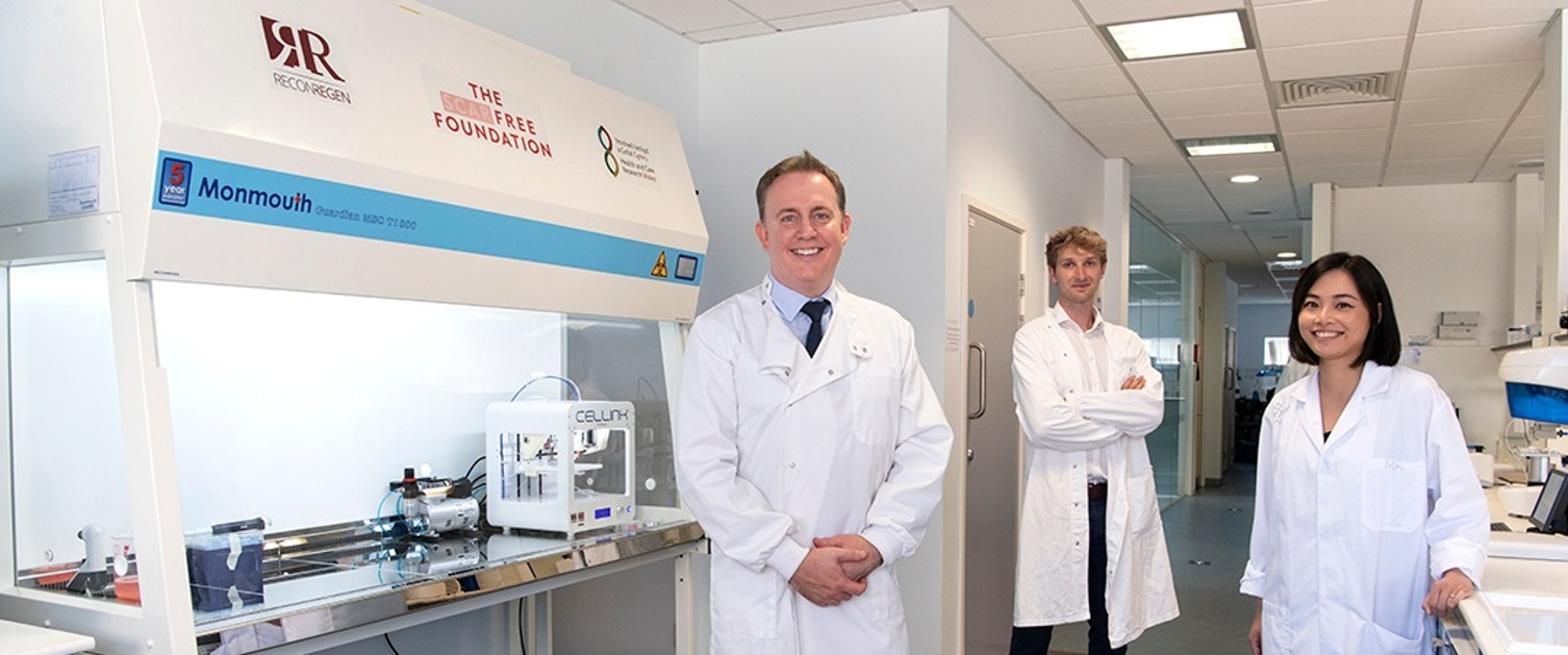 An image of the team in the lab