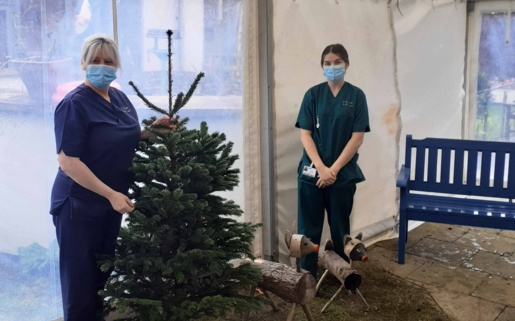 Two staff members pictured with a Christmas tree and wooden reindeer.
