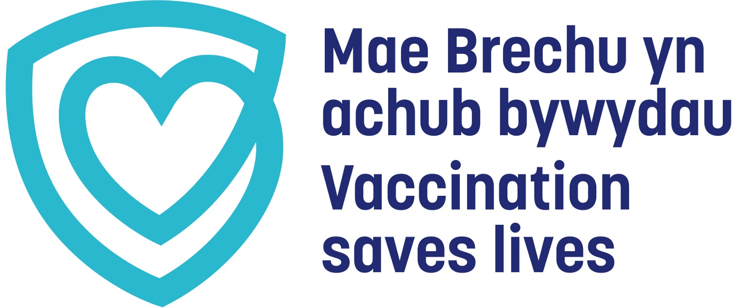 Vaccination saves lives logo showing a heart and shield illustration.