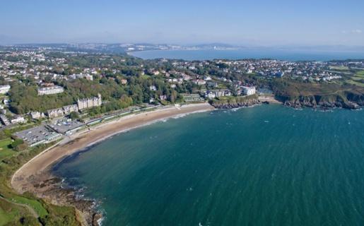 Aerial shot of Langland Bay.