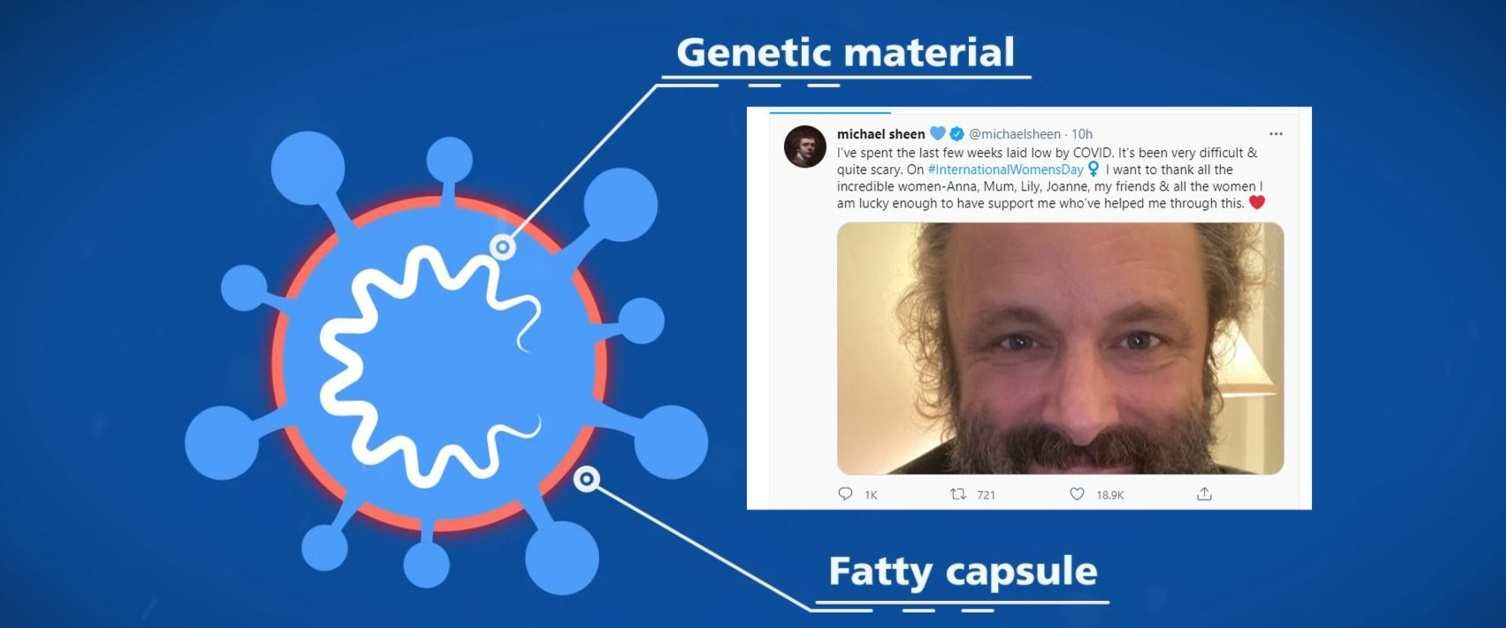 A still image showing the structure of the coronavirus and an inset picture and tweet from Michael Sheen.