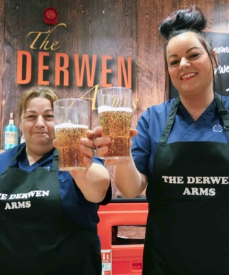 Kath Protheroe and Dawn Griffin welcome you to the Derwen Arms