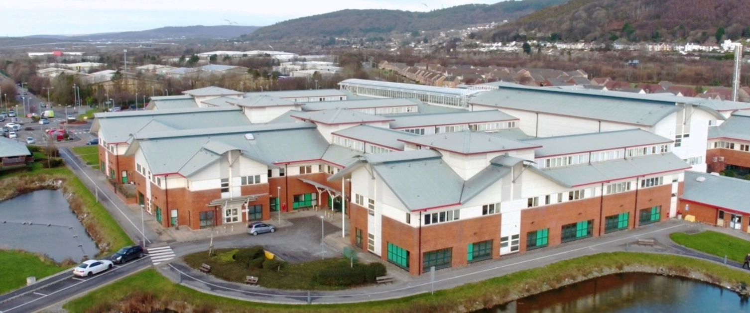 Aerial image of Neath Port Talbot Hospital.