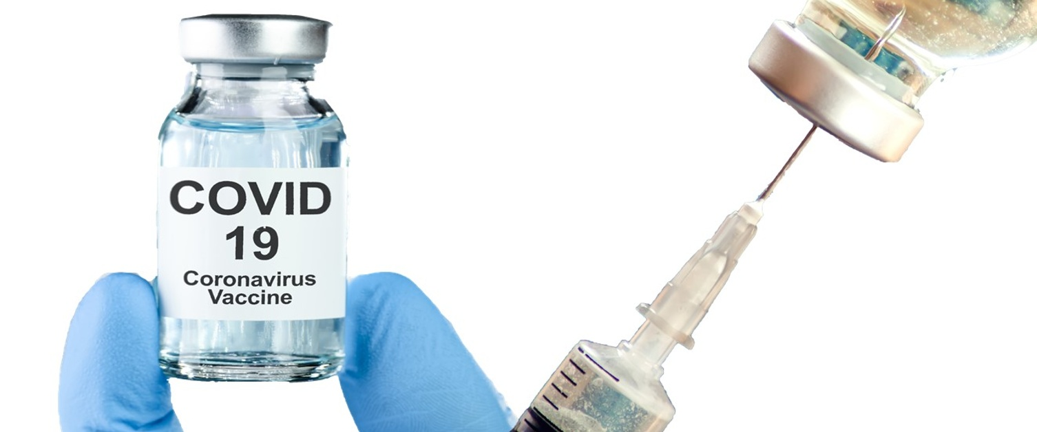 Gloved fingers holding a Covid vaccine vial plus a syringe in vial bottle.