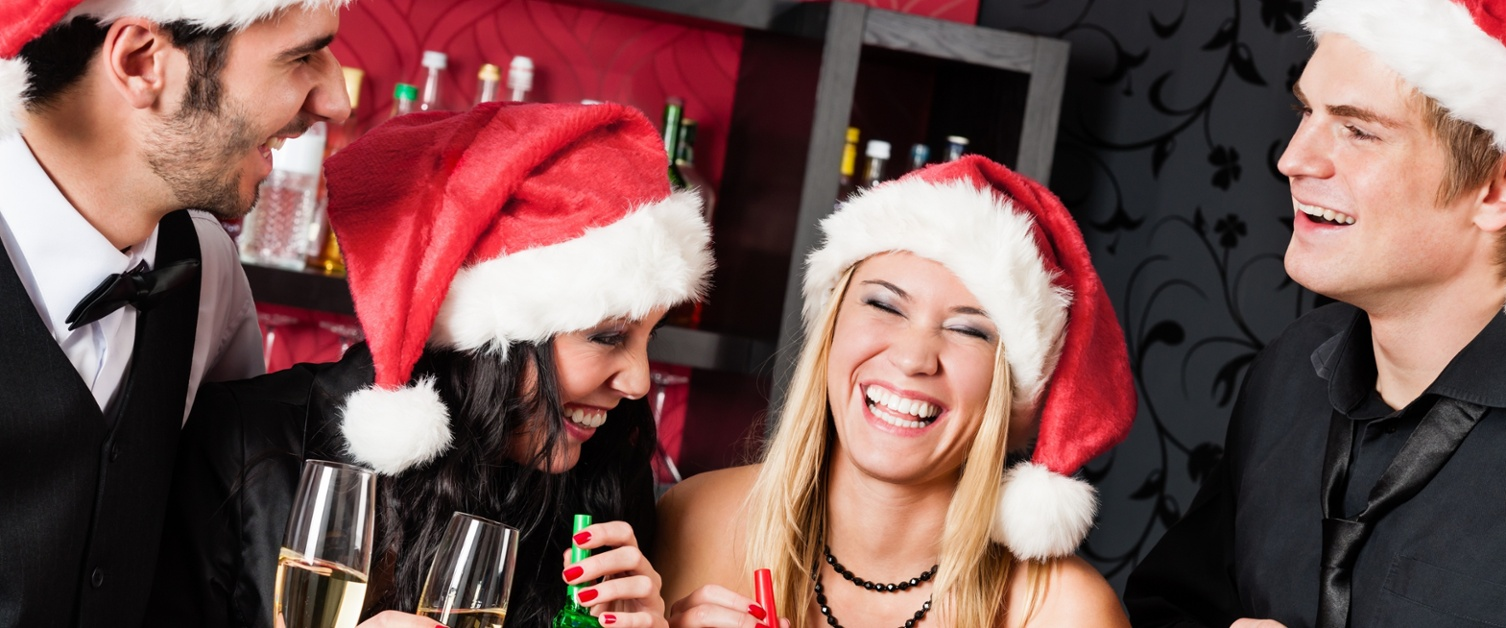 A picture of people at a Christmas party