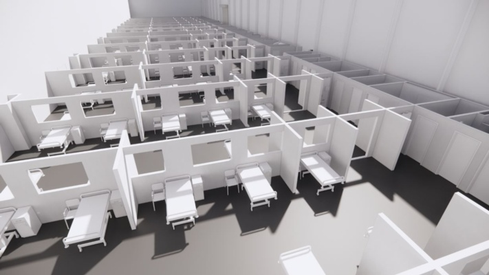 An aerial 3D image of what Bay field hospital will look like