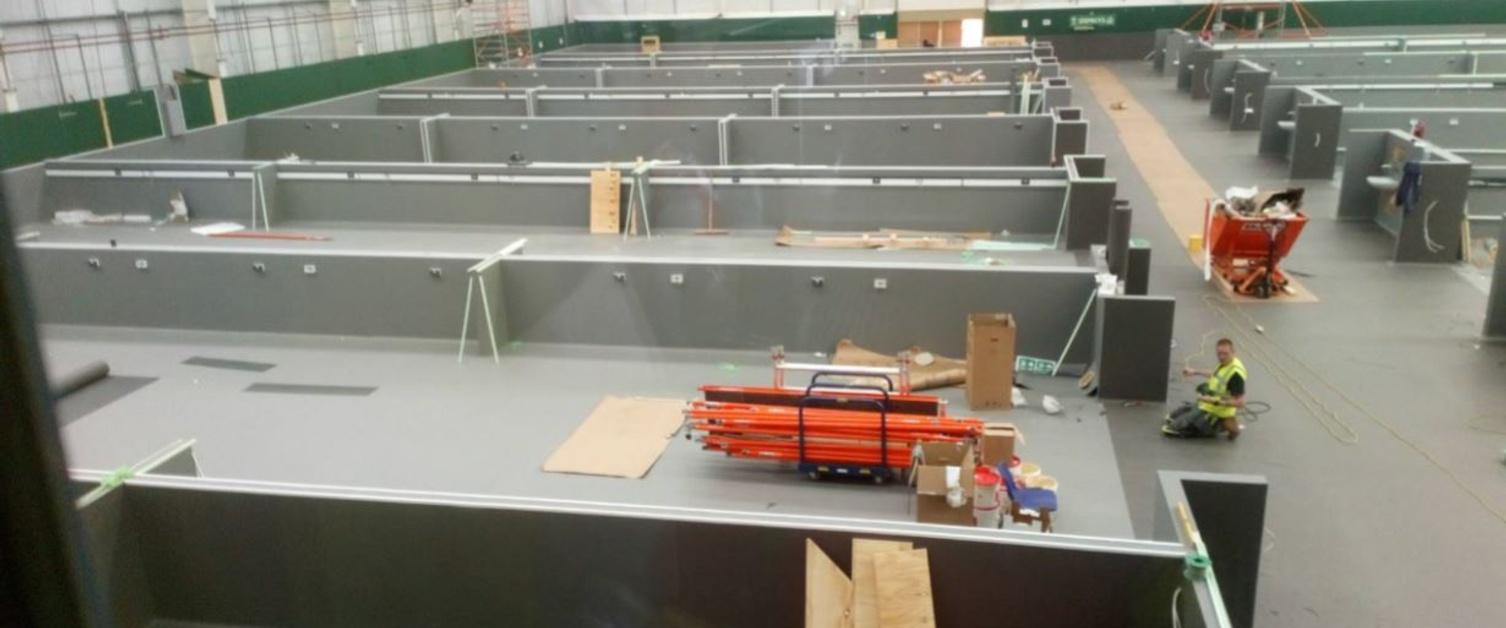 An image of Llandarcy field hospital under construction
