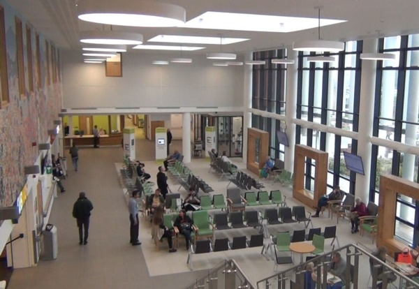 An overview of the outpatients waiting area in Morriston Hospital.