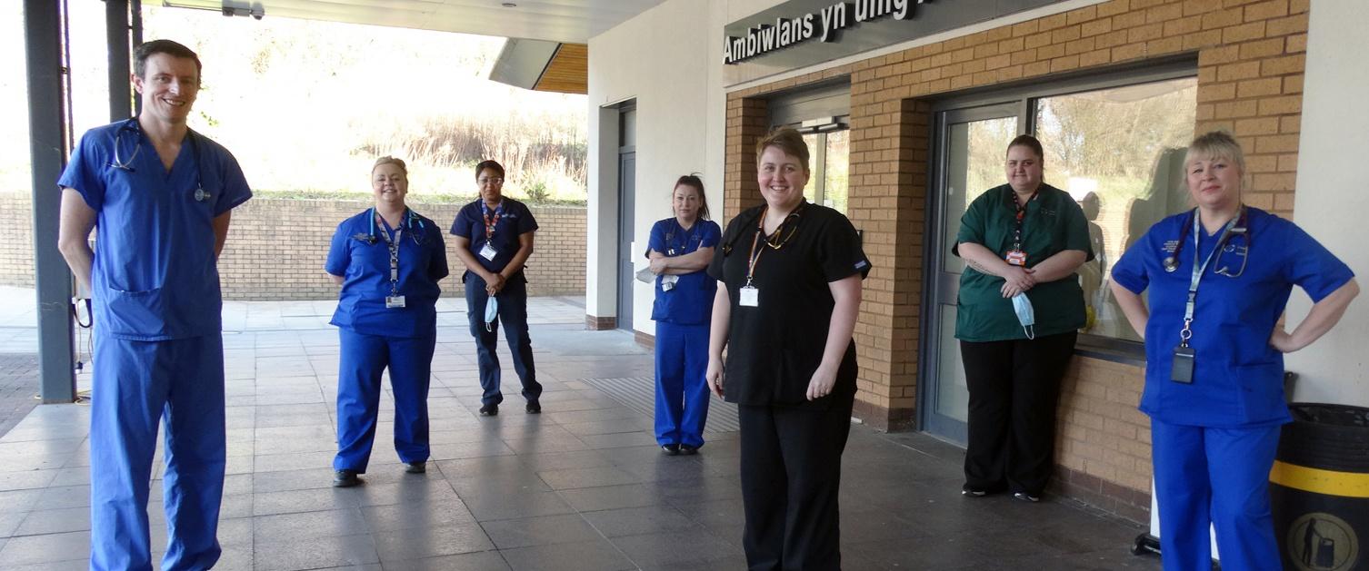 OPAS team members outside Morriston Hospital