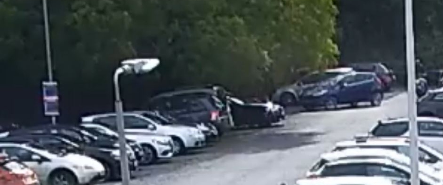 A still from CCTV of a car being stolen from Morriston Hospital