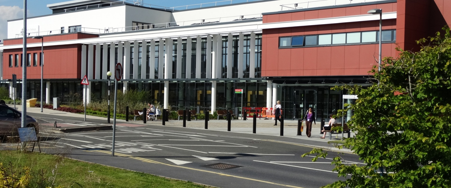Exterior view of Main Entrance to Morriston Hospital.