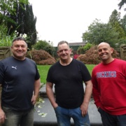 (Left to right) Ford volunteers Mike Fisher, forklift driver, Mark Hooper, hot test inspector and Damian Powis, line operator