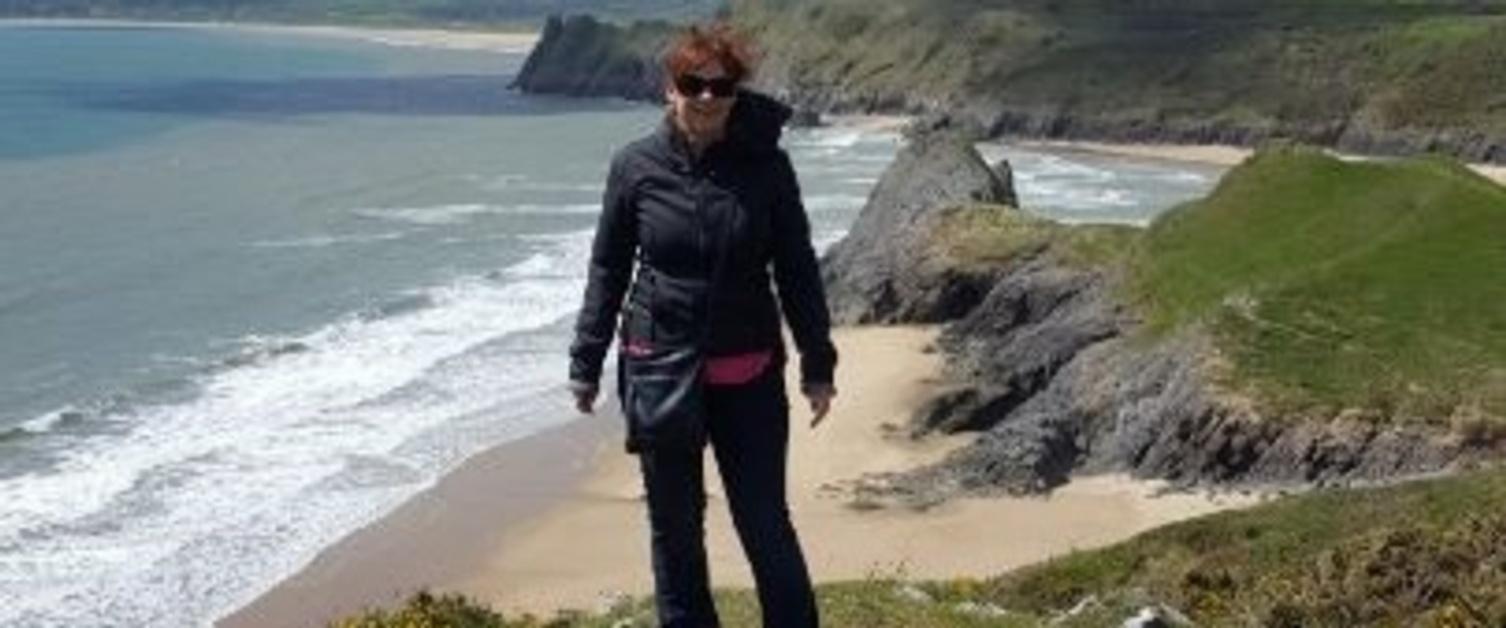 Nurse Sarah Briaris enjoying a walk down the Gower