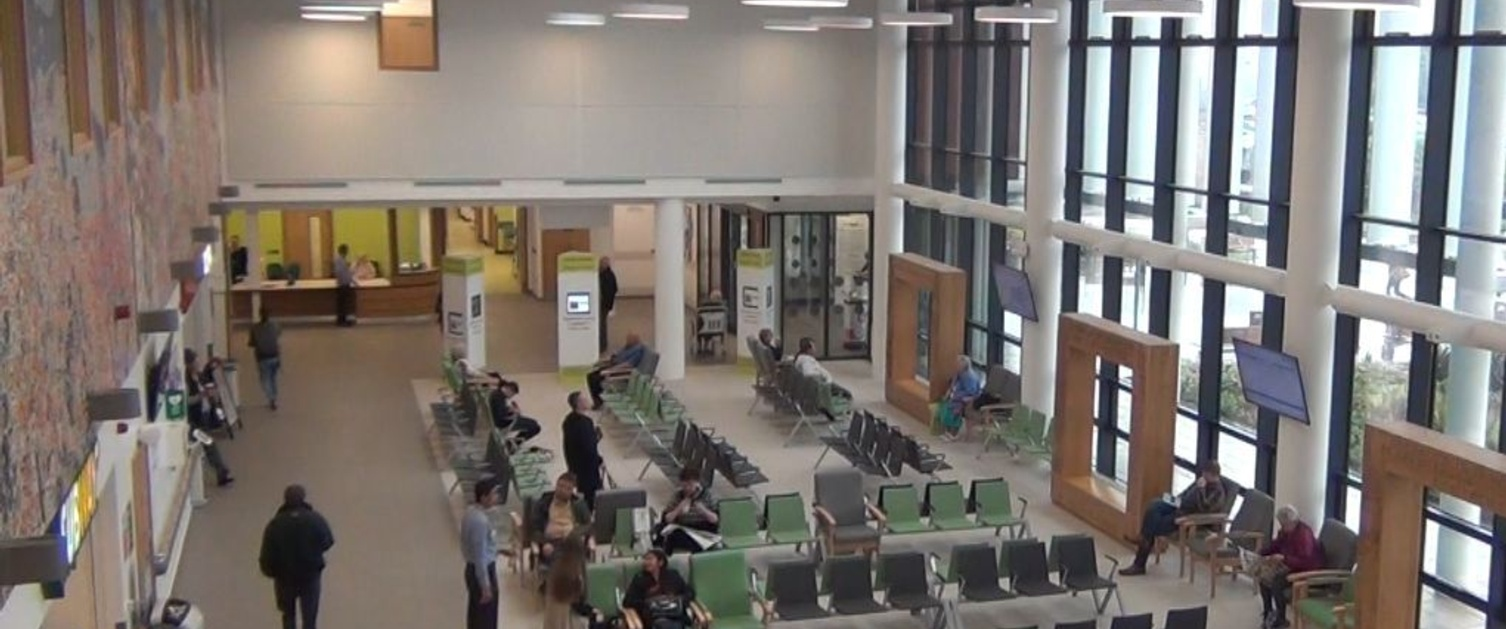 An overview of the outpatient's waiting area in Morriston Hospital.