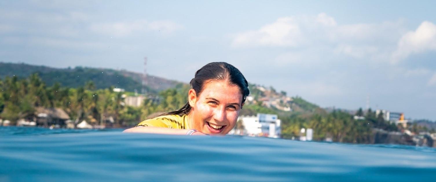 Physiotherapist Ayesha Garvey surfing in El Salvador