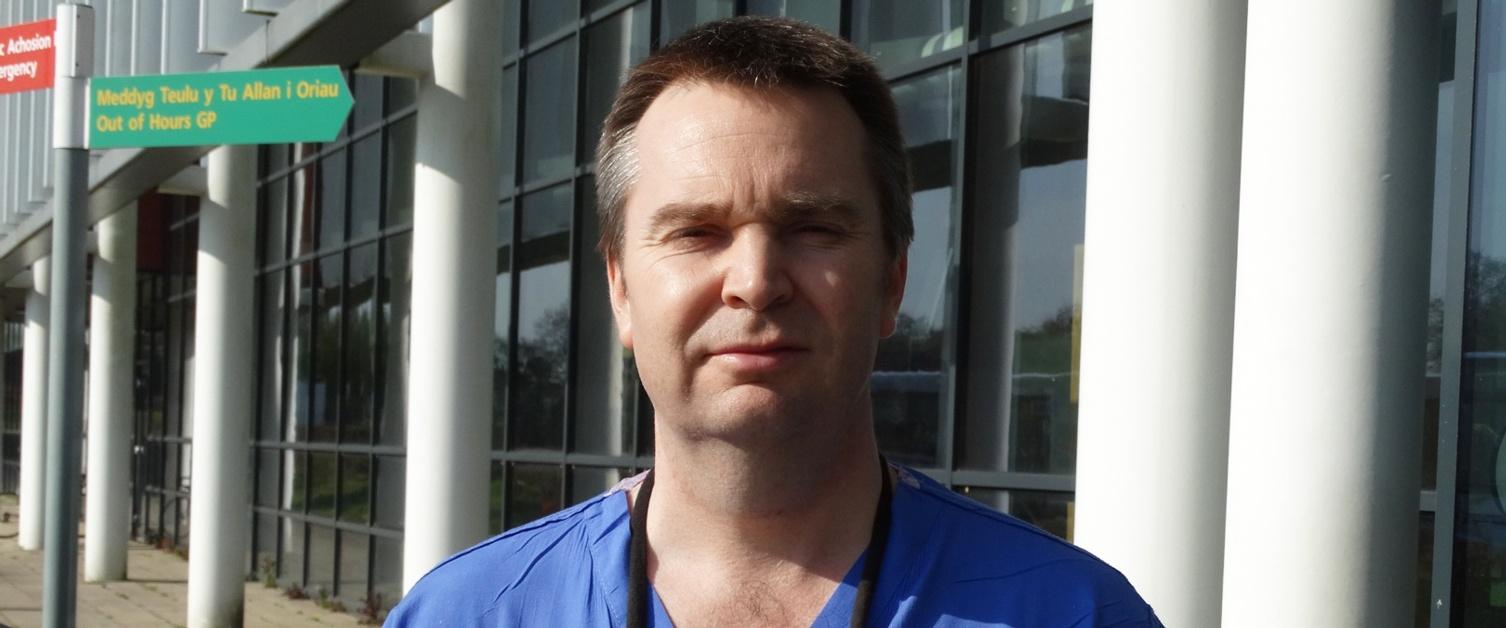 Dr James Barry outside Morriston Hospital