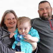 Hedydd Barker, left, with son Owain Conibeer and ChrisConibeer