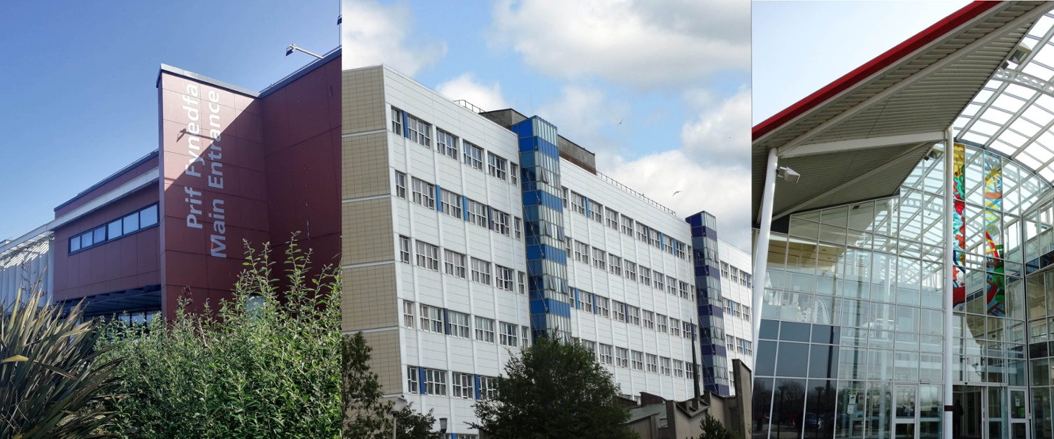 Image shows composite picture of three hospitals