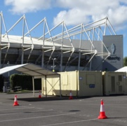 Image shows the lanes at the drive-through testing unit at the Liberty Stadium.