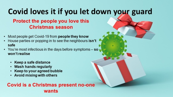 Christmas present picture with a virus as a gift
