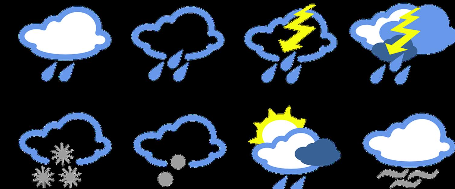 Various weather symbols showing sunshine, cloud, partial cloud, rain, lightning, snow and hail
