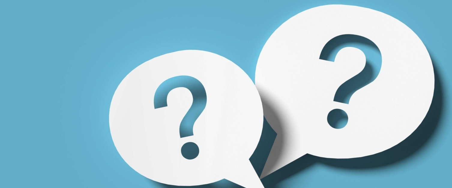 Image shows blue background with white speech bubbles containing question marks.