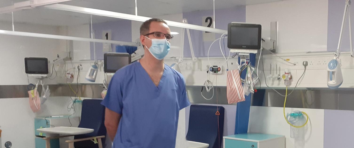 John Gorst inside Morriston Hospital