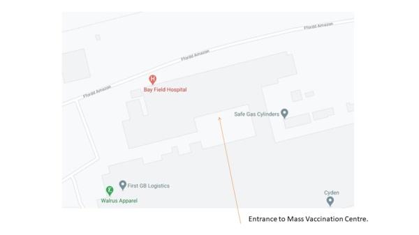 Llun o Ysbyty maes y Bae ar google maps